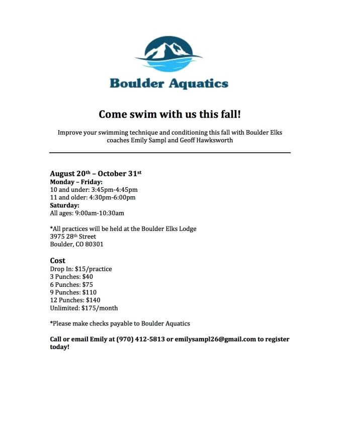 Boulder Aquatics fall swimming flyer