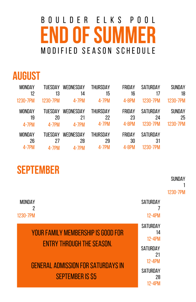 BEP End of Summer Calendar